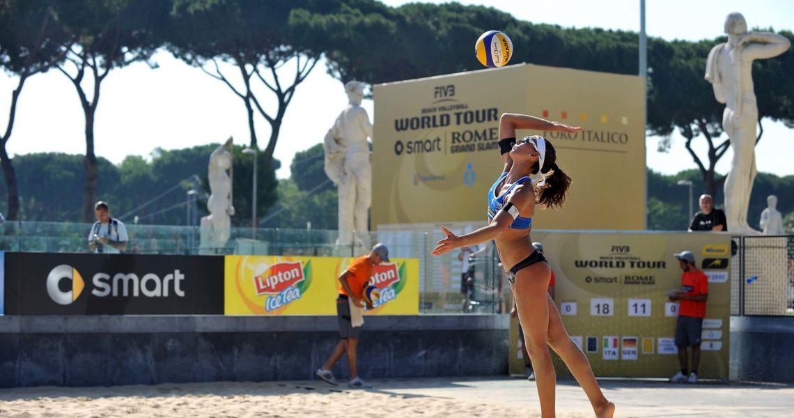 Roma, 21 giugno 2013 Beach Volley Swatch FIVB World Tour - Smart Grand Slam Rome 2013. Foro Italico. Giorno 4 - Donne - Primo turno ad eliminazione diretta. Cicolari-Menegatti ITA vs Köhler-Schumacher GER foto di Simone Ferraro / GMT