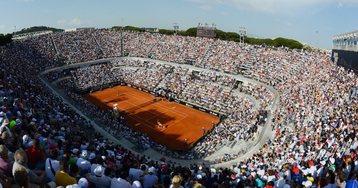 ROME, ITALY - MAY 17:  A packed Centre Court watches the Men's Singles Final between Novak Djokovic of Serbia and Roger Federer of Switzerland on Day Eight of The Internazionali BNL d'Italia 2015 at the Foro Italico on May 17, 2015 in Rome, Italy.  (Photo by Mike Hewitt/Getty Images)