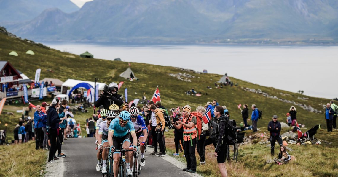 Hugo Houle hauls the group with Astana teammate Alexey Lutsenko in the finale of Stage 3 of the Arctic Race of Norway. Image: ASO
