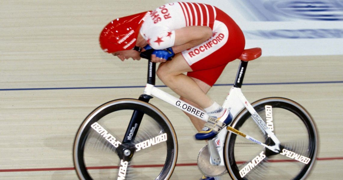 16/7/1993 World Cycling Hour Record. Graeme Obree. Photo: Offside / L'Equipe