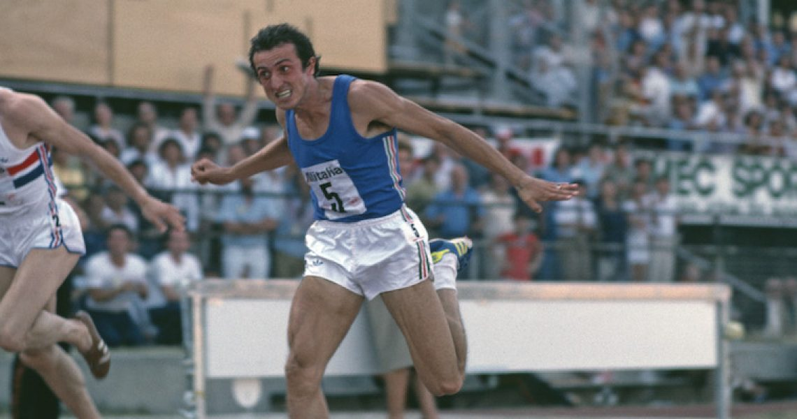 Italian sprinter Pietro Mennea (1952 - 2013) is beaten by Allan Wells of Great Britain in the European Cup final of the 200 metres in Turin, Italy, August 1979. (Photo by Tony Duffy/Getty Images)